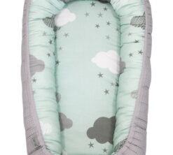 Gnijezdo za bebe 0-8m siva i Minty Puffs