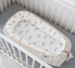 Gnijezdo za bebe Cottonwaffel 0-8m Duga i bež