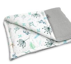 Pamučna deka Cotton-waffel 75x100 Pastel Sprigs i siva