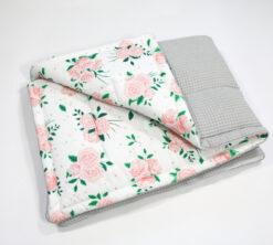 Pamučna deka Cotton-waffel 75x100 Roses i siva