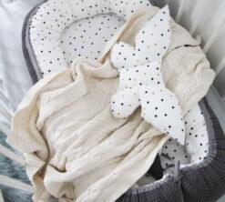 Gnijezdo za bebe 0-8m Cotton-waffel Confetti i siva